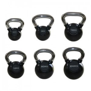 KETTLEBELL - 32KG CHROME HANDLE RUBBER COATED