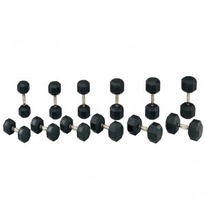 RUBBER HEX DUMBBELL 5 TO 50 LB