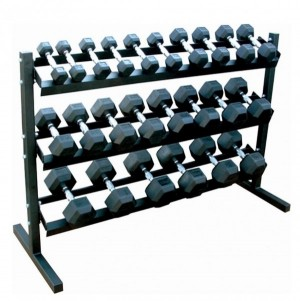 5LB-50LB RUBBER HEX DUMBBELLS WITH 3TIER RACK