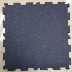 17MM RUBBER FLOOR BL+BLUE INTERLOCKING